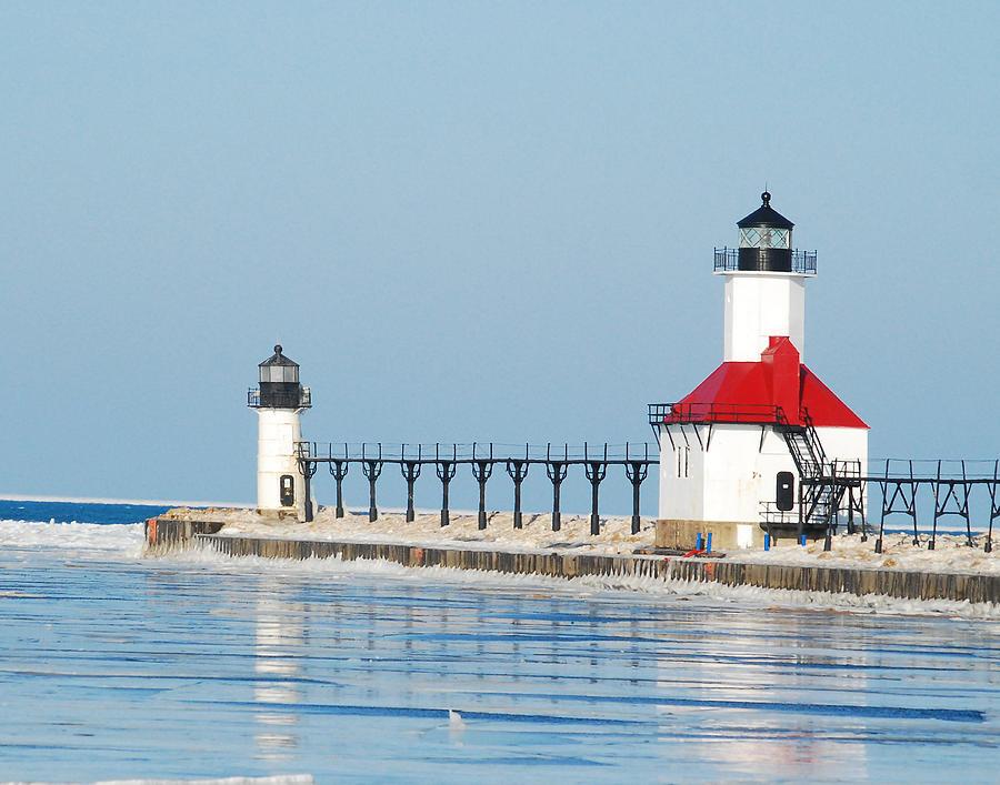 Advisory Photograph - St Joseph North Pier Lights by Michael Peychich