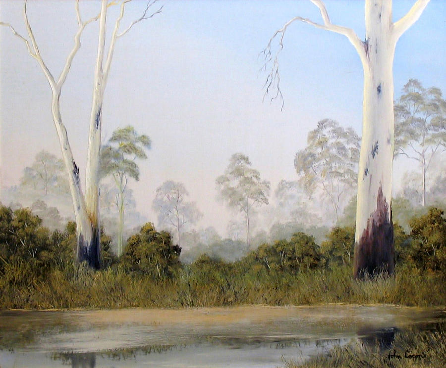 River Scape Painting - Still Creek by John Cocoris