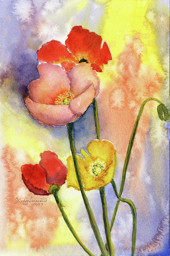 Flowers Painting - Summer Poppies by Vickey Swenson