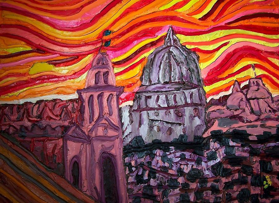Sienna  Italy Painting - Sun At Night Siennas Delight by Ira Stark