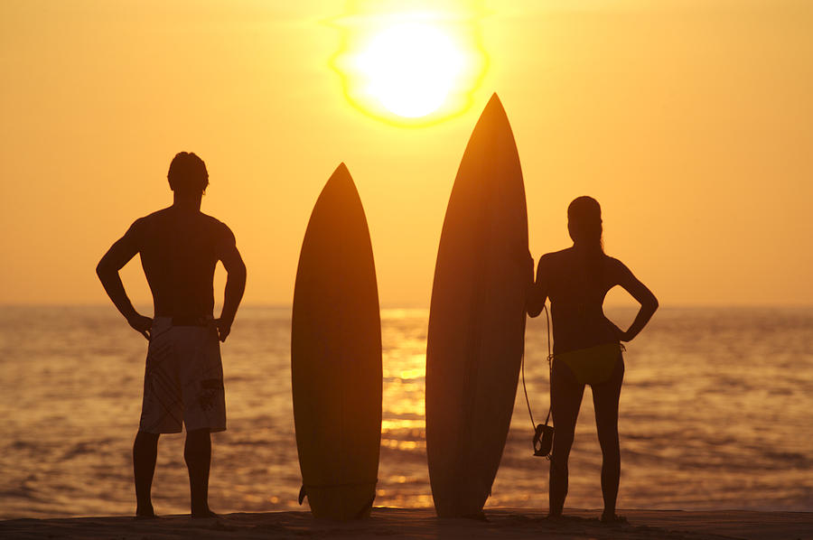 Afternoon Photograph - Surfer Silhouettes by Larry Dale Gordon - Printscapes