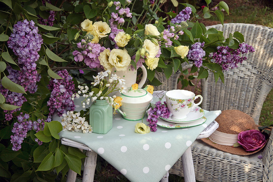 Table Set For Afternoon Tea In An English Garden by Erika Craddock
