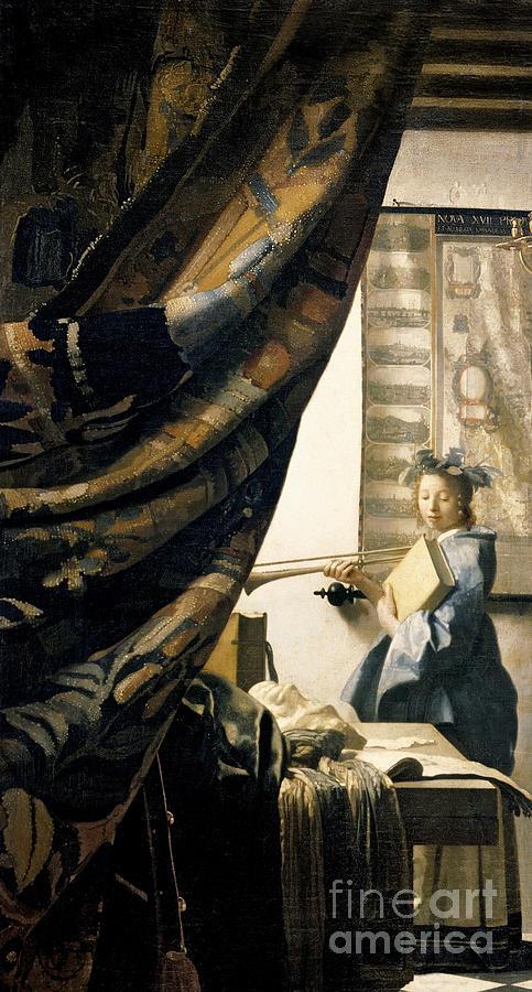 Vermeer Painting - The Artists Studio by Jan Vermeer