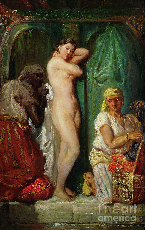 The Painting - The Bath In The Harem by Theodore Chasseriau