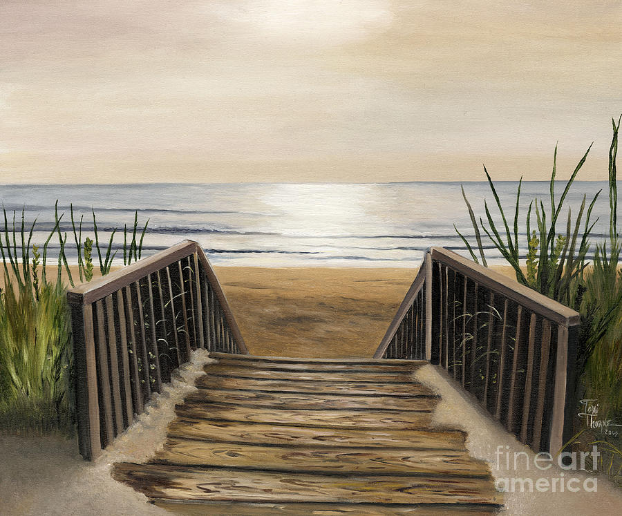 The Beach Painting By Toni Thorne