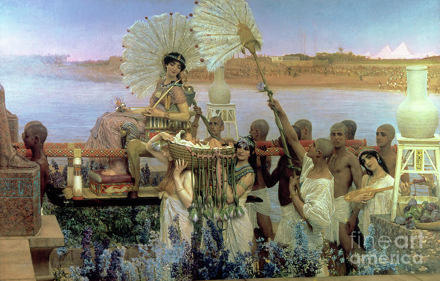 The Finding Of Moses By Pharaoh's Daughter Painting - The Finding Of Moses by Sir Lawrence Alma Tadema