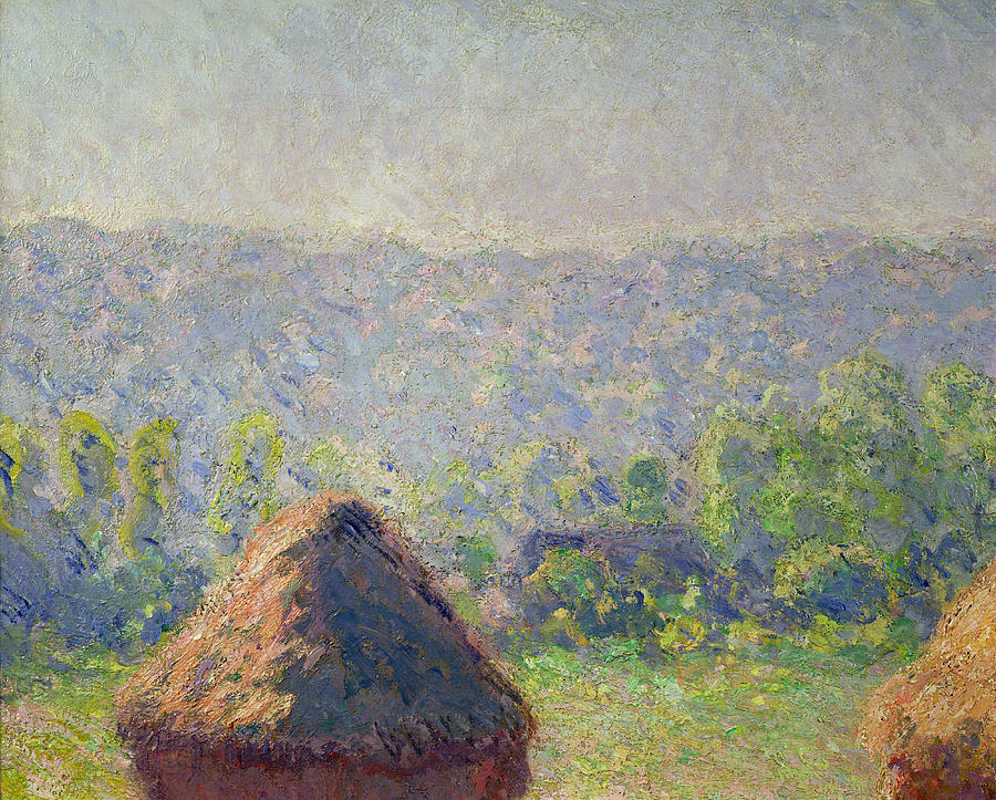 The Painting - The Haystacks by Claude Monet