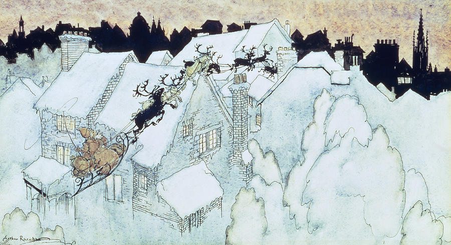 Father Painting - The Night Before Christmas by Arthur Rackham