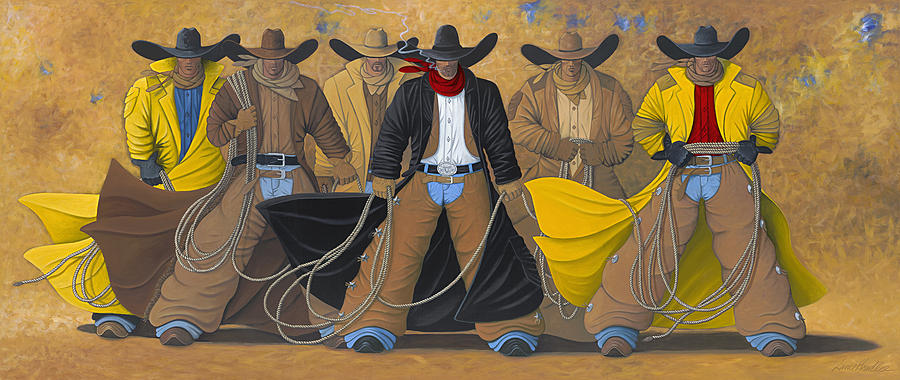 Large Cowboy Painting Of Six Cowboys. Painting - The Posse by Lance Headlee