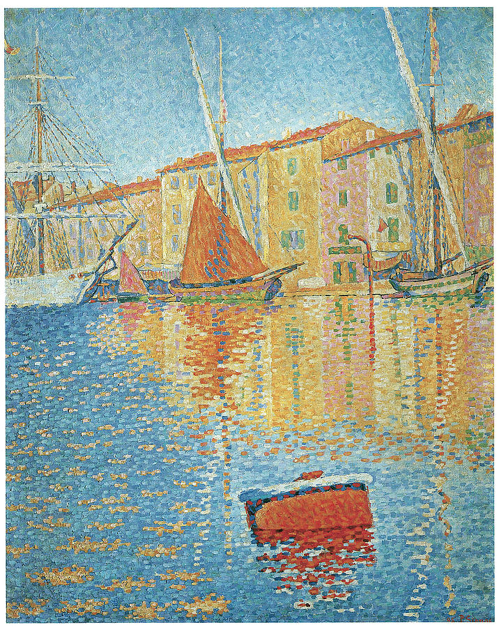 Paul Signac Painting - The Red Buoy by Paul Signac
