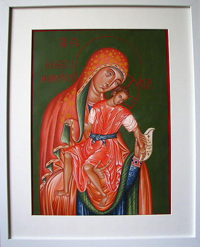 Theotokos With Christ  On Paper Made With Egg Tempera Painting - Theotokos With Christ by Biljana Vujaklija