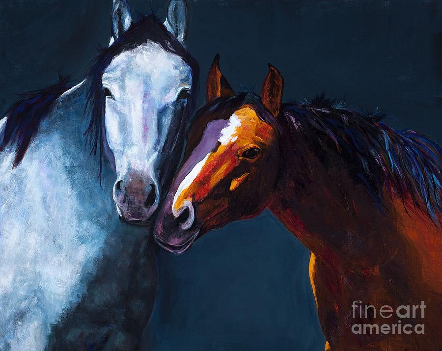 Horses Painting - Unbridled Love by Frances Marino