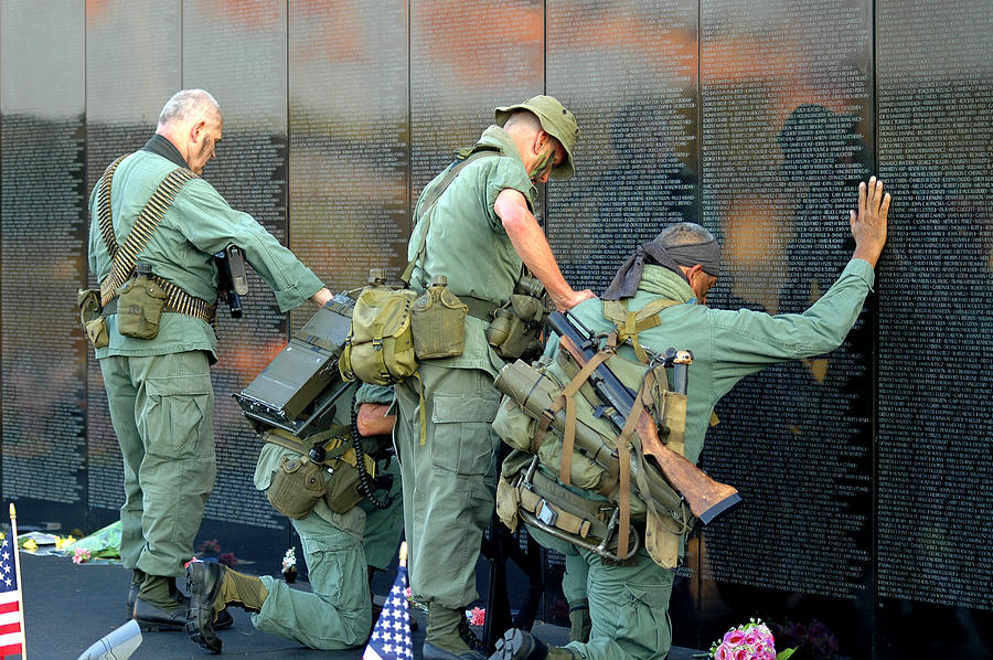 Vietnam Wall : Veterans At Vietnam Wall is a photograph by Carolyn Marshall which was ...