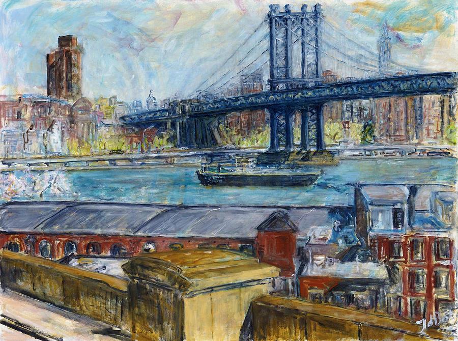 New York Painting Bridge View From Brooklyn Bri...