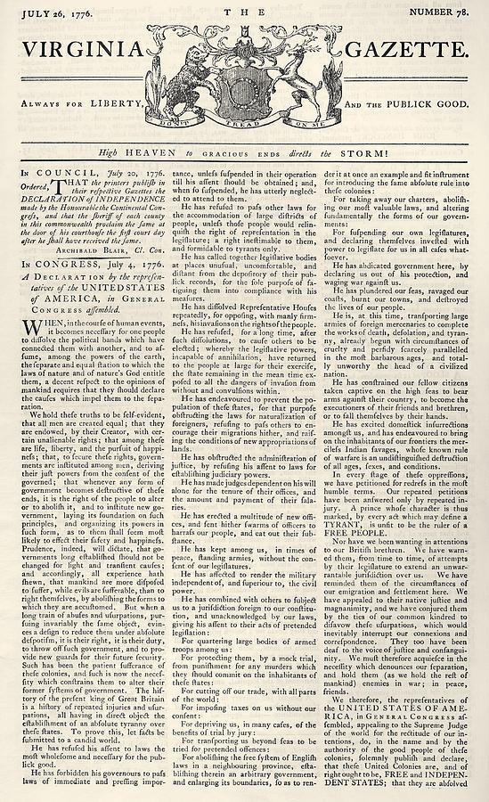 1776 Photograph - Virginia Gazette, 1776 by Granger