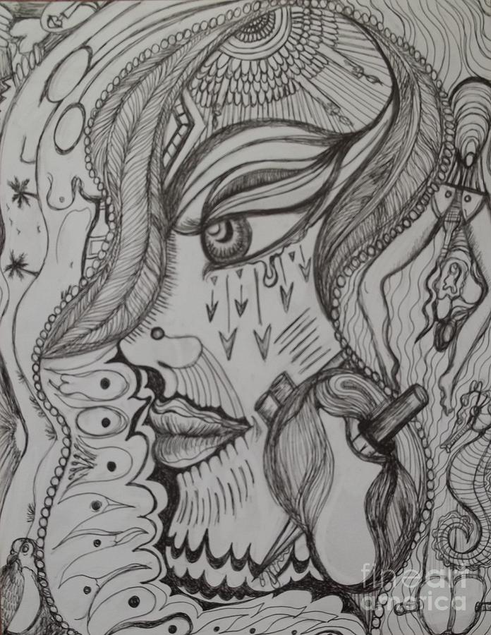 Eyes Drawing - Where by Anita Wexler