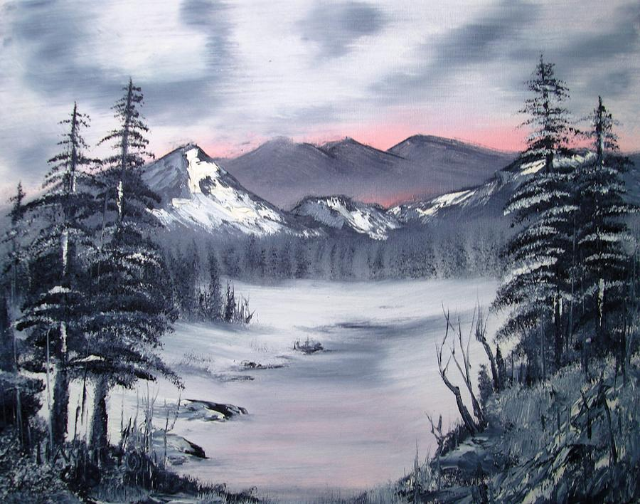 Oil Mountian Painting Painting - Winter In Three Colors by Larry Hamilton