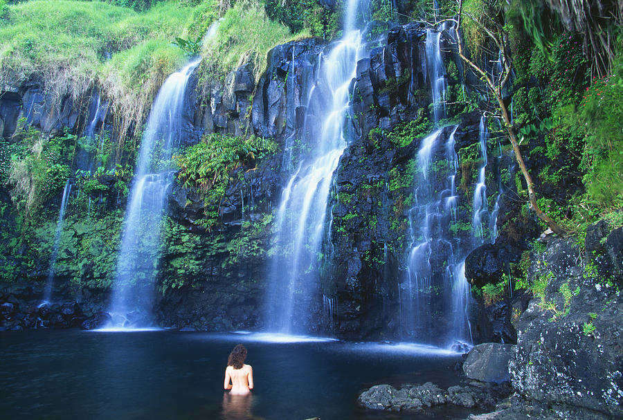 Base Photograph - Woman At Waterfall by Dave Fleetham - Printscapes