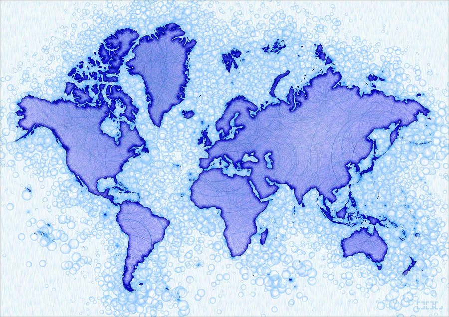 World Map Airy In Blue And White Digital Art by Eleven Corners