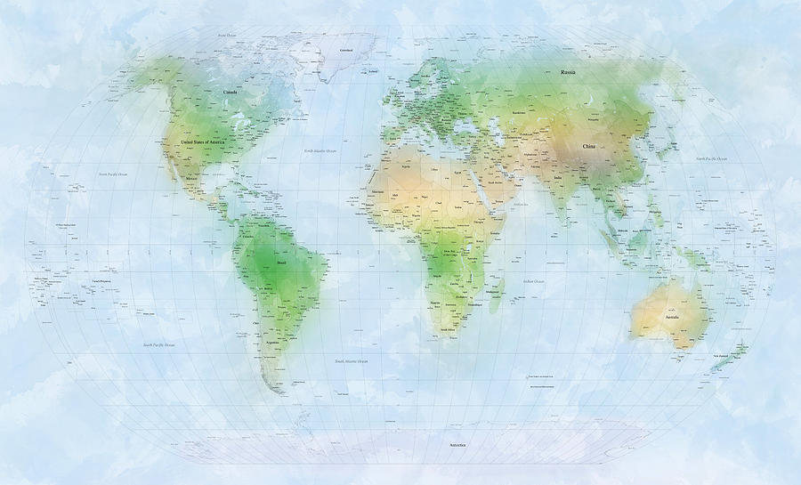 World Map Digital Art - World Map Watercolor by Michael Tompsett
