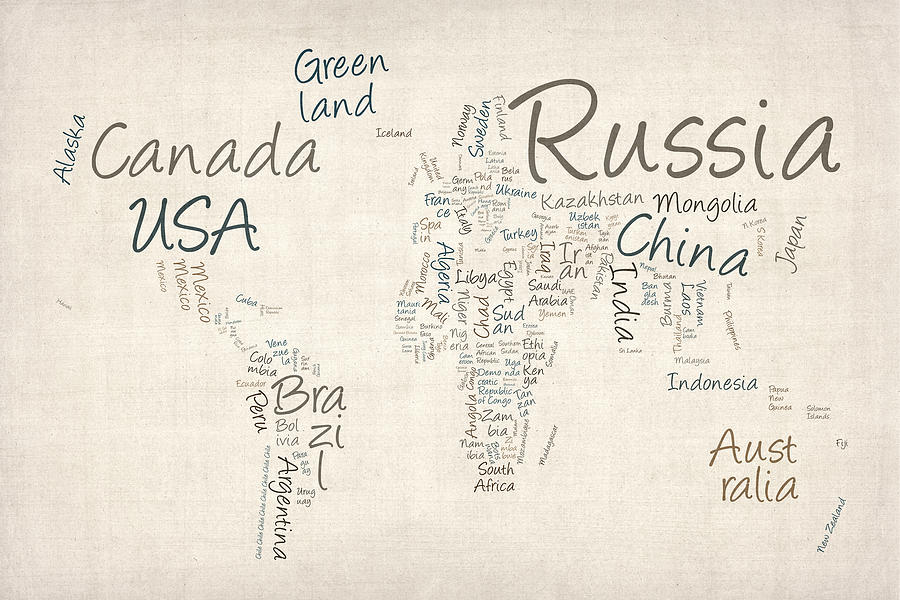 World Map Digital Art - Writing Text Map Of The World Map by Michael Tompsett