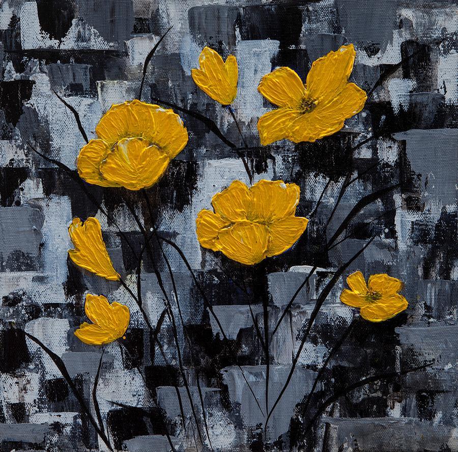 Yellow Poppy Flowers Painting Painting by Pooja Yadav