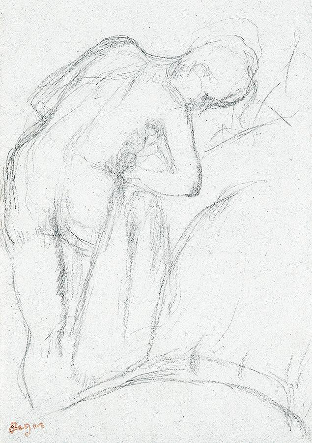 Degas Drawing - After The Bath by Edgar Degas