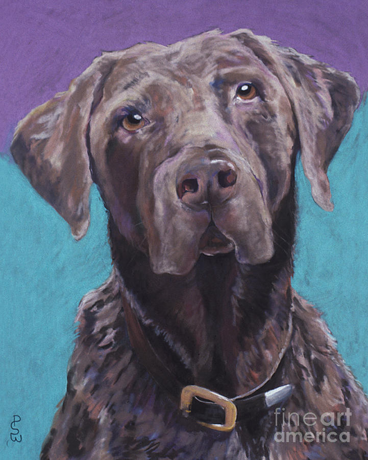 Pet Portrait Commissions Painting - 100 Lbs. Of Chocolate Love by Pat Saunders-White