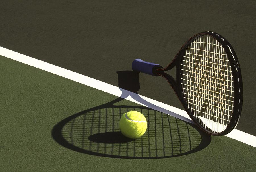 Tennis; Racquet; Ball; Balls; Shadow; Game; Games; Sport; Sports; Shadow; Tennis Ball; Tennis Racquet; Competition Photograph - 10sne1 by Gerard Fritz