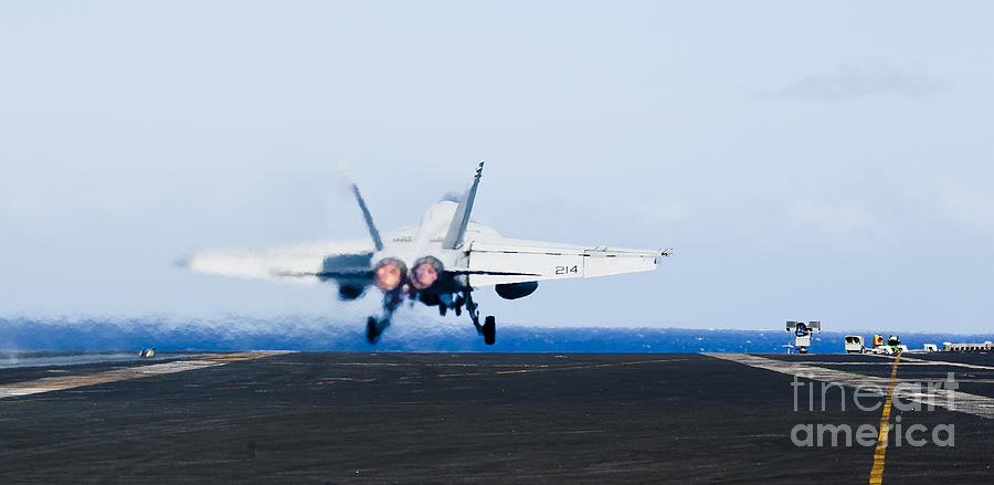 Afterburner Photograph - An Fa-18e Super Hornet Launches by Stocktrek Images