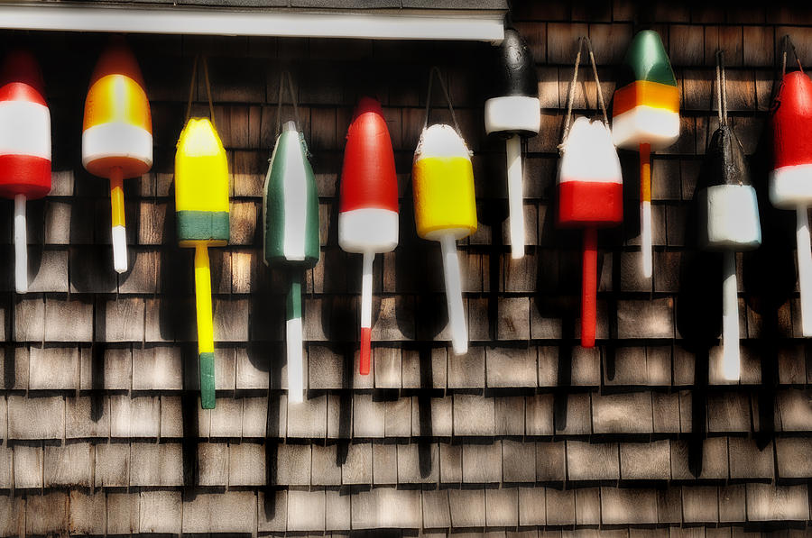 Fishing Gear Photograph - 11 Buoys In A Row by Thomas Schoeller