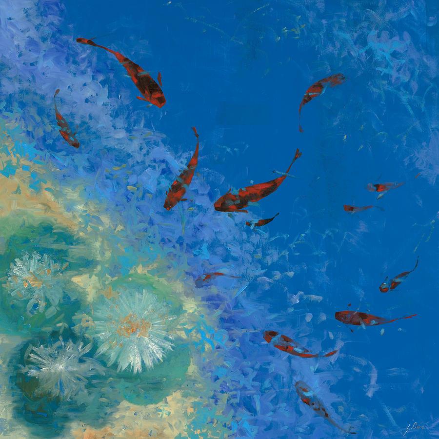 Fishscape Painting - 13 Pesciolini Rossi by Guido Borelli