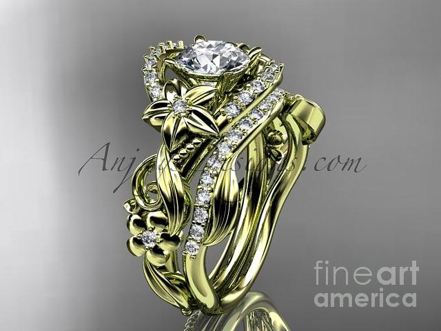 Diamond Engagement Ring Jewelry - 14kt Yellow Gold Diamond Unique Flower Leaf And Vine Engagement Ring Set Adlr211s   by AnjaysDesigns com