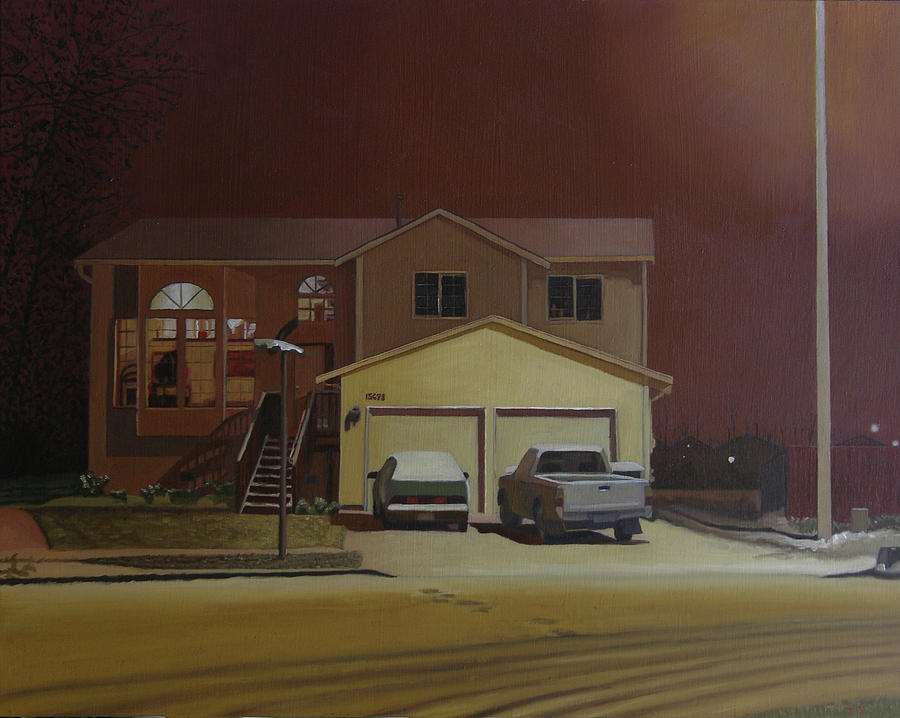House In Winter Painting - 15698 168th Ave. S.e. by Thu Nguyen
