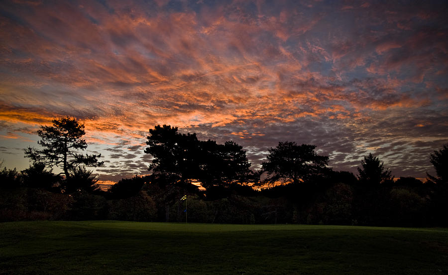 Golf Photograph - 16 Green Dawn by Edwin Voorhees