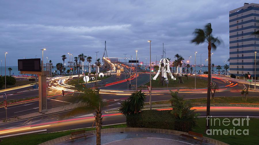 1812 Bridge Roundabout Traffic Lights Cadiz Spain Photograph
