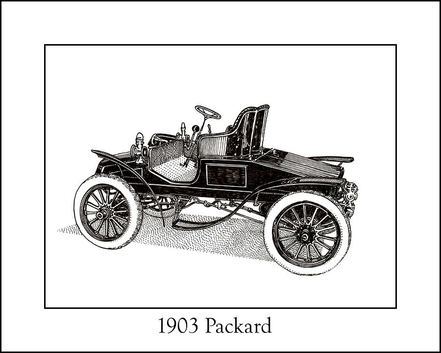 Framed Pen And Ink Images Of Classic Cars. Pen And Ink Drawings Of Vintage Classic Cars. Black And White Drawings Of Cars From The 1930�s Drawing - 1903 Packard by Jack Pumphrey