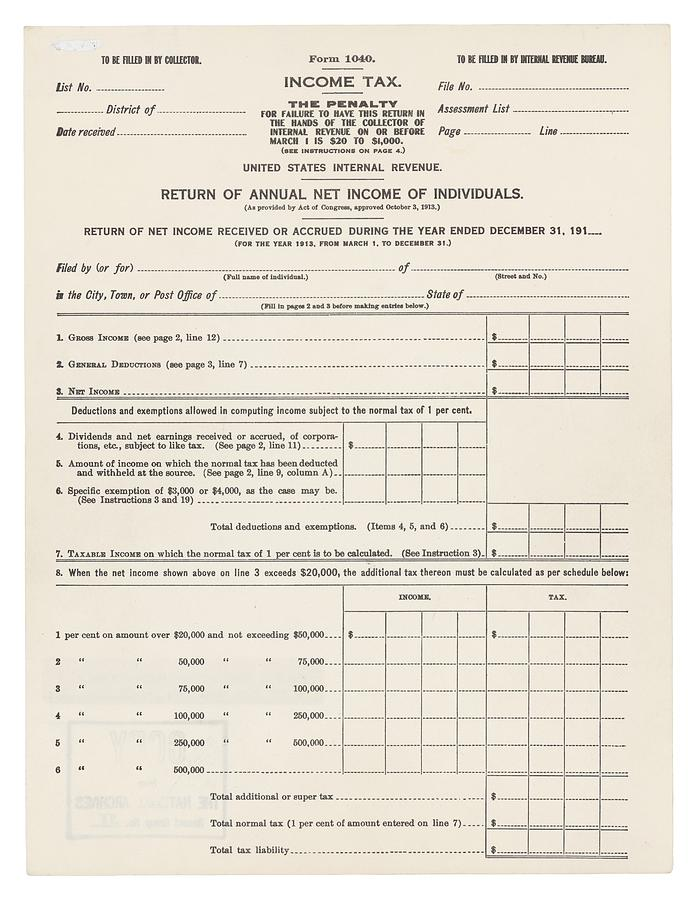 History Photograph - 1913 Federal Income Tax 1040 Form. The by Everett