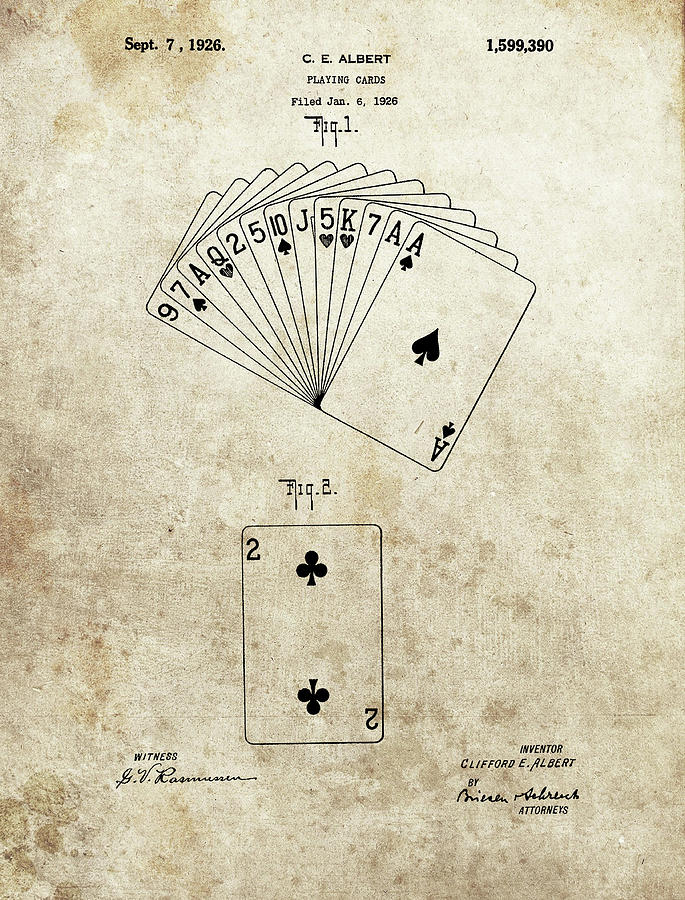 1926 Deck Of Cards Patent Drawing