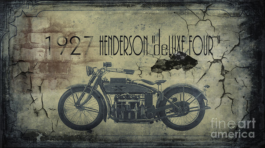 Motorcycle Framed Prints Painting - 1927 Henderson Vintage Motorcycle by Cinema Photography