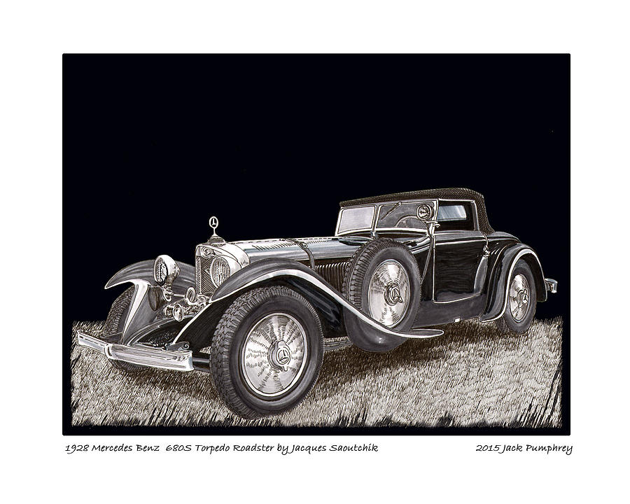 1928 mercedes benz 680 s painting by jack pumphrey for Mercedes benz jack