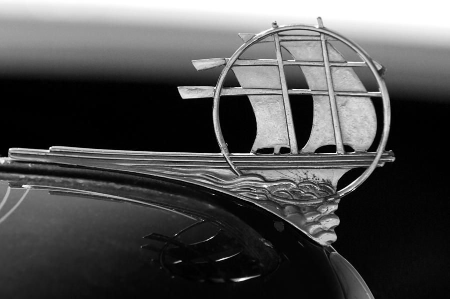Transportation Photograph - 1934 Plymouth Hood Ornament Black And White by Jill Reger