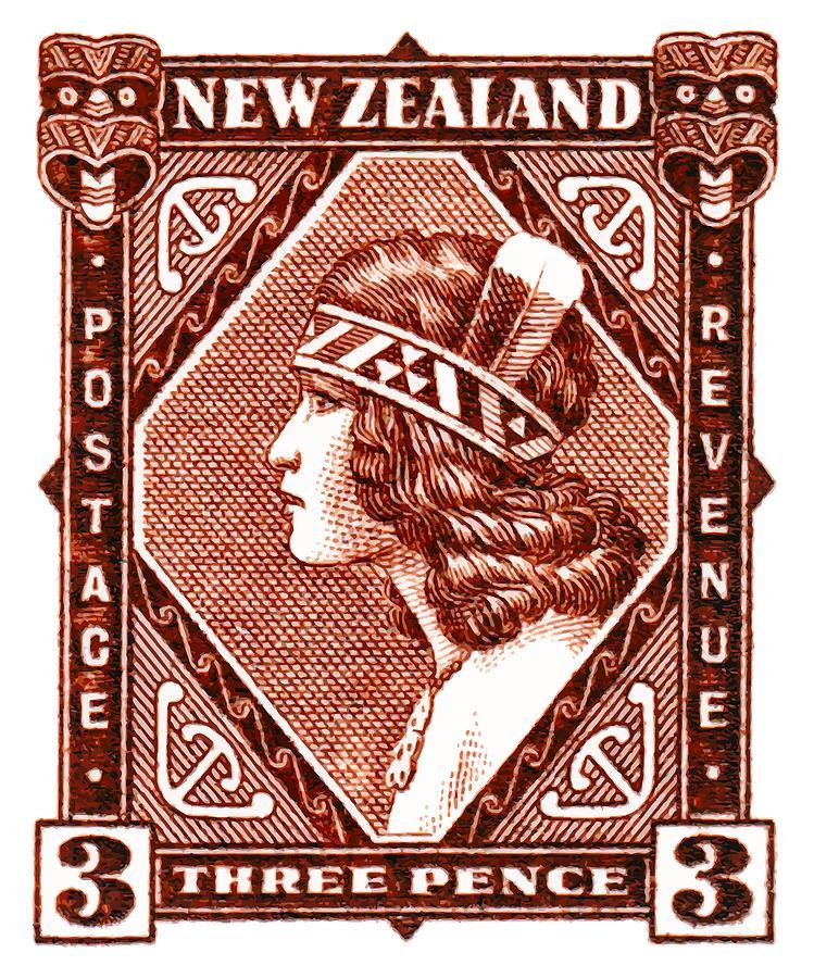 1936 new zealand maori girl postage stamp digital art