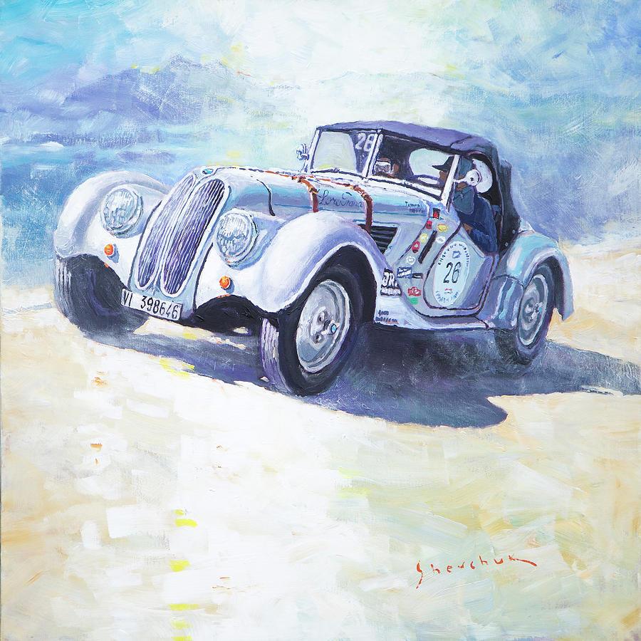 Shevchukart Painting - 1938 Bmw 328 Roadster Caracciola Gp 2016 Winner by Yuriy Shevchuk
