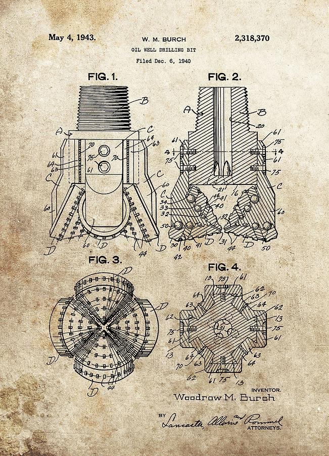 1940s Oil Drill Bit Patent Drawing by Dan Sproul