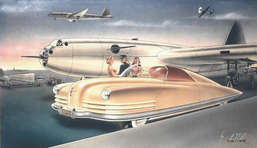 Car Concepts Painting - 1941 Chrysler Styling Concept Rendering Gil Spear by ArtFindsUSA