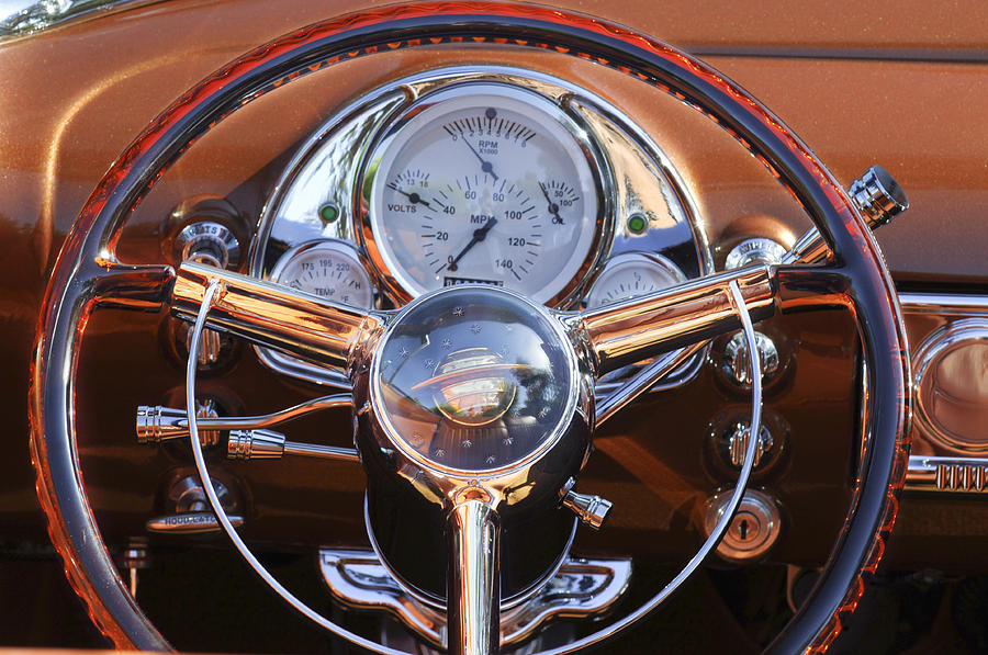 1950 Oldsmobile Photograph - 1950 Oldsmobile Rocket 88 Steering Wheel 2 by Jill Reger
