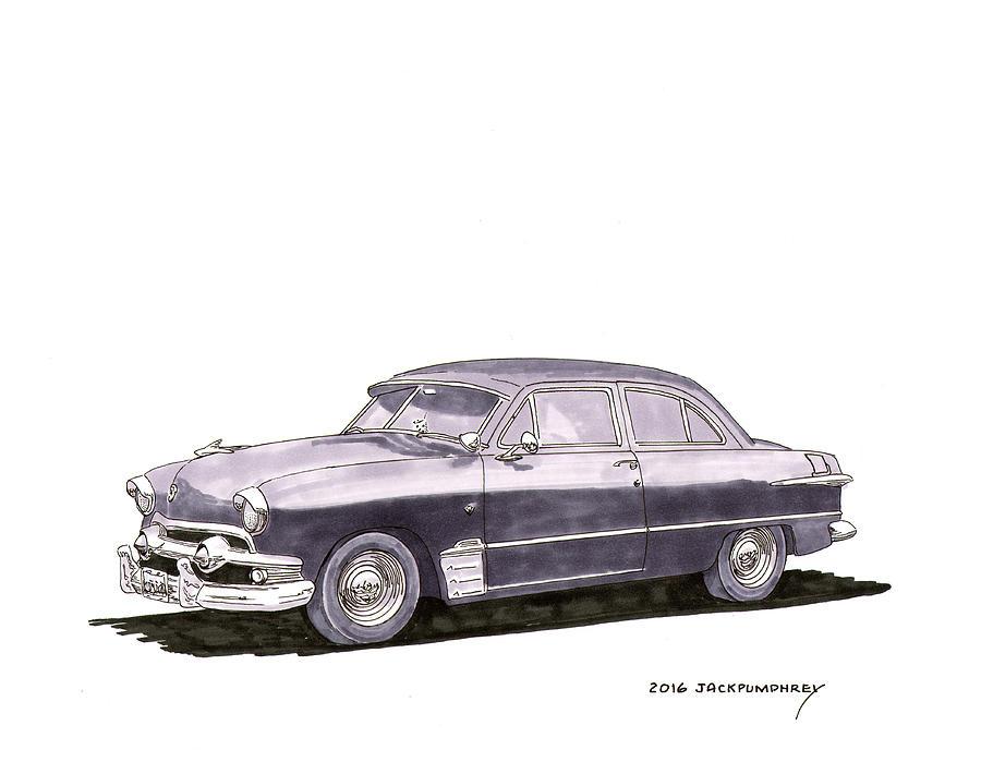 1951 ford two door sedan painting by jack pumphrey for 1951 ford 2 door sedan