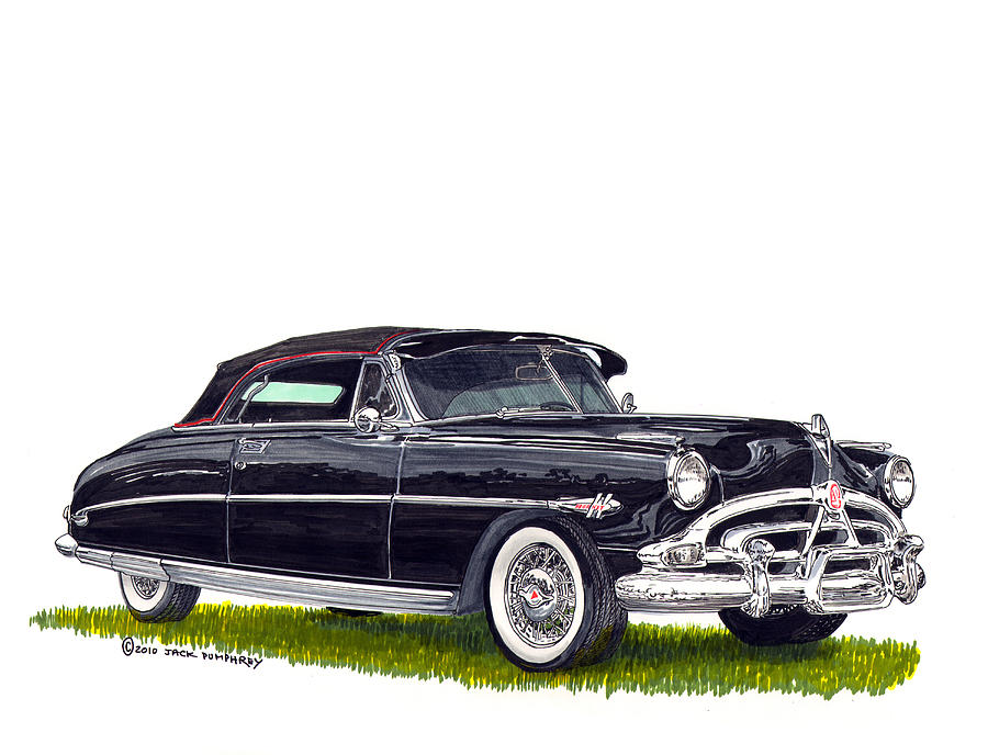 Framed Prints Of Great American Classic Cars Framed Canvas Prrnts Of Hudson Hornets Painting - 1952 Hudson Hornet Convertible by Jack Pumphrey