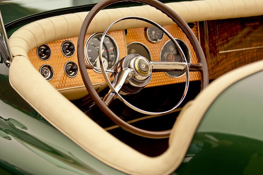 1952 Sterling Gladwin Maverick Sportster Photograph - 1952 Sterling Gladwin Maverick Sportster Steering Wheel by Jill Reger